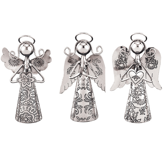 Silver Angel Bell Ornament Set